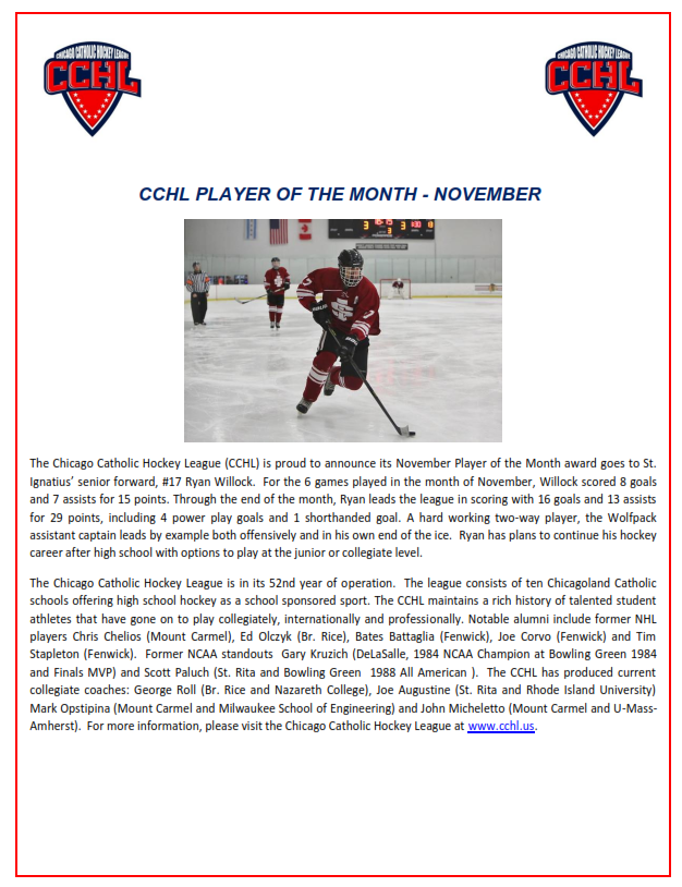cchl november player of the month