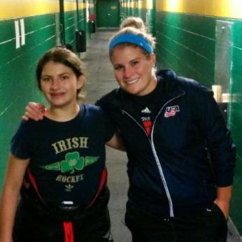 Julia Sinople with 2014 USA Olympic Team Member, Brianna Decker, at the USAH Central District Camp
