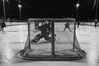PHOTO #12 -  Xan Weller, Maulers Pee Wee AA, saves a goal at the outdoor rink at Winter Club.
