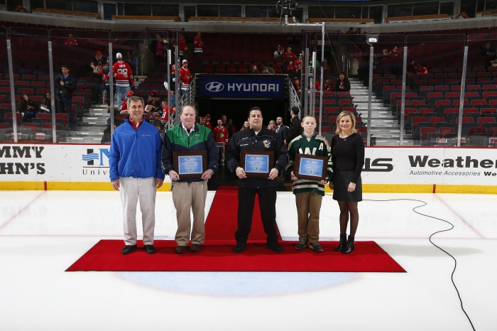 Chris McComish, BMO Harris Bank, Volunteer - Ned Forsberg, New Trier Girls Hockey, Coach - Phil Zangara, Gurnee Maulers, Player - James Randolph, Lake Forest Winter Club, Annie Camins, Chicago Blackhawks Youth Hockey Director