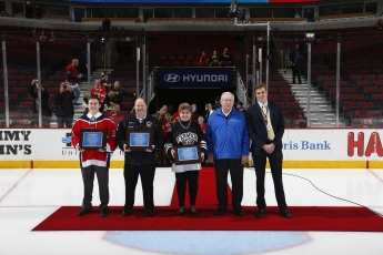 Pictured Left to Right: Anthony Loffredo, St Viator High School, John Berthiaume, Gurnee Maulers, Wendy Fleming, Fenwick High School, BMO representative, Mike Furlong, CEO, BMO Harris Bank, Spencer Montgomery, Youth Hockey Coordinator, Chicago Blackhawks