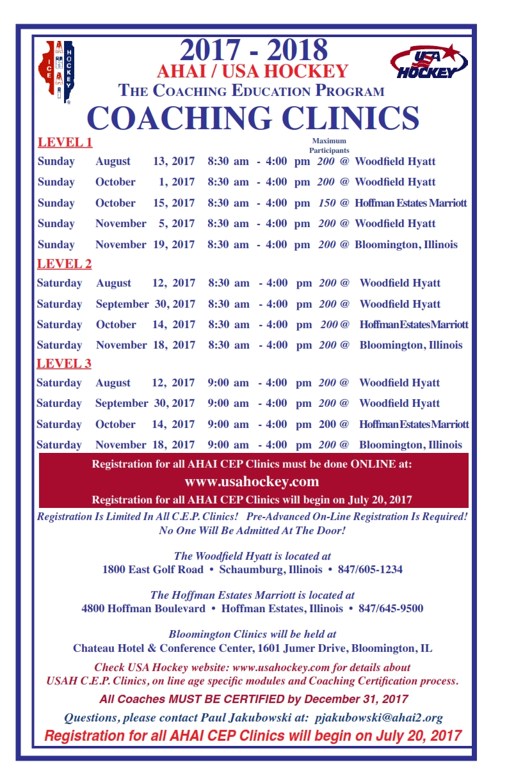 2017 18 Cep Clinic Schedule