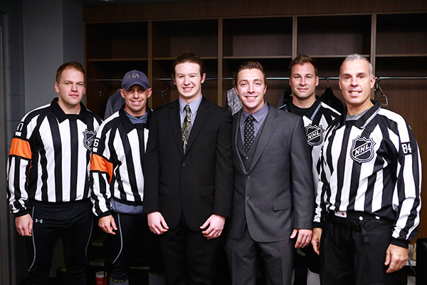 (From left to right) Trevor Hanson, Brian Pochmara, Colton Edling, Nicholas West, Mark Shewchyk, Tony Sericolo