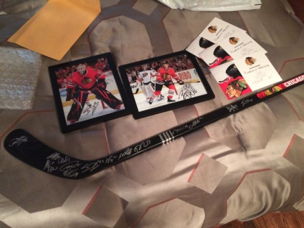 Chicago Blackhawks stick signed by entire 2015-15 Team, 8x10 Signed Scott Darling Photo, 8x10 Signed Bryan Bickell photo