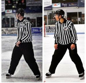 Shane & Ben Allison in similar skating poses