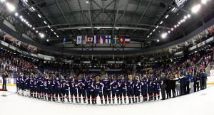 ST. CATHARINES, CANADA - JANUARY 15: USA players look on during the national anthem after a 3-2 overtime win over Canada in the gold medal game at the 2016 IIHF Ice Hockey U18 Women's World Championship. (Photo by Jana Chytilova/HHOF-IIHF Images)