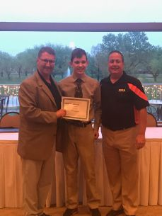 (Left to Right) Geoff Schlender - IHOA Treasurer, Alex Mucha - IHOA Scholarship Recipients & John Oldenburg - IHOA President
