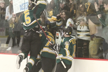 Glenbrook North players celebrating a goal during their 5-2 win over Glenbrook South