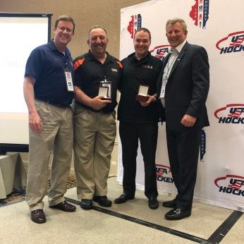 (Left to Right) AHAI President Mike Barrett, Carl Sassolino (IHOA), Eric Cowsill (IHOA) and Jim Smith, USA Hockey President