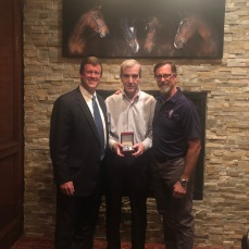 Jim Clare (center), AHAI Service Award with AHAI President, Mike Barrett and (left) and AHAI Executive Director, John Dunne (right)