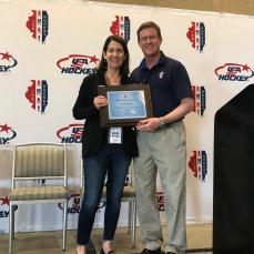 Kathy Monahan (Stallions) and Mike Barrett, AHAI President