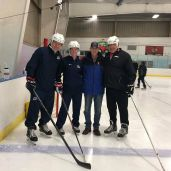 (L-R) Dan Jablonic, Heather Mannix, Jim Clare (Illinois Coach-in-Chief) and Tim Monroe, Hockey Director at Franklin Park
