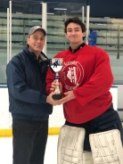 AHAI Boys' High School All-State Terry J. Stasica MVP Recipient: William J. DeCaro, OPRF with AHAI Director, Mike Mullally